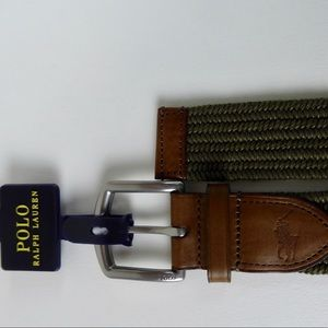 Polo Ralph Lauren Woven Olive Green Belt Leather